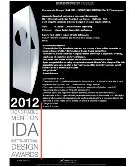"Comunicato Stampa 15.04.2013 – ""Honorable Mention IDA '12"" Los Angeles"