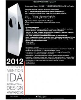 "Comunicato Stampa 15.04.2013 – ""Honorable Mention IDA '12"" Los Angeles"